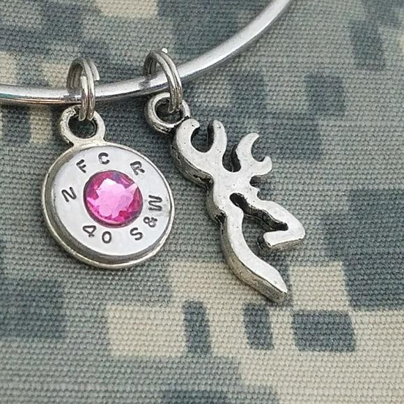 Charming 2nd Amendment Jewelry 40 Caliber Bullet Pink Browning